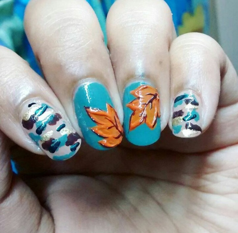 Fall : Camouflage & Leaves nail art by Sohini  Sengupta