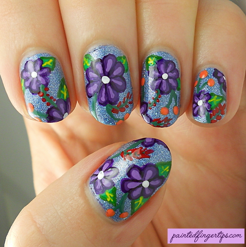Inspired by floral denim jacket nail art by Kerry_Fingertips
