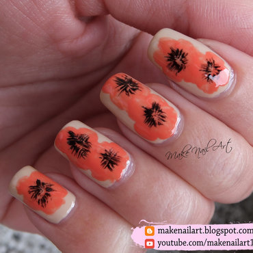 Poppy Nail Art Design nail art by Make Nail Art