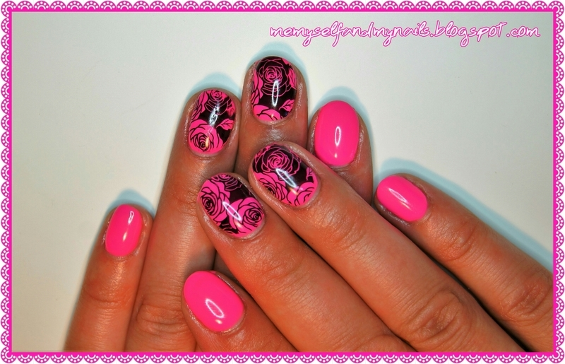 Neon rose nail art by ELIZA OK-W