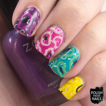 80s Shimmery Squiggles nail art by Marisa  Cavanaugh