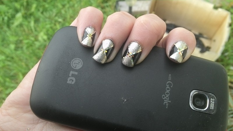 Diamond Abstract with a touch of Holo nail art by Kristyna
