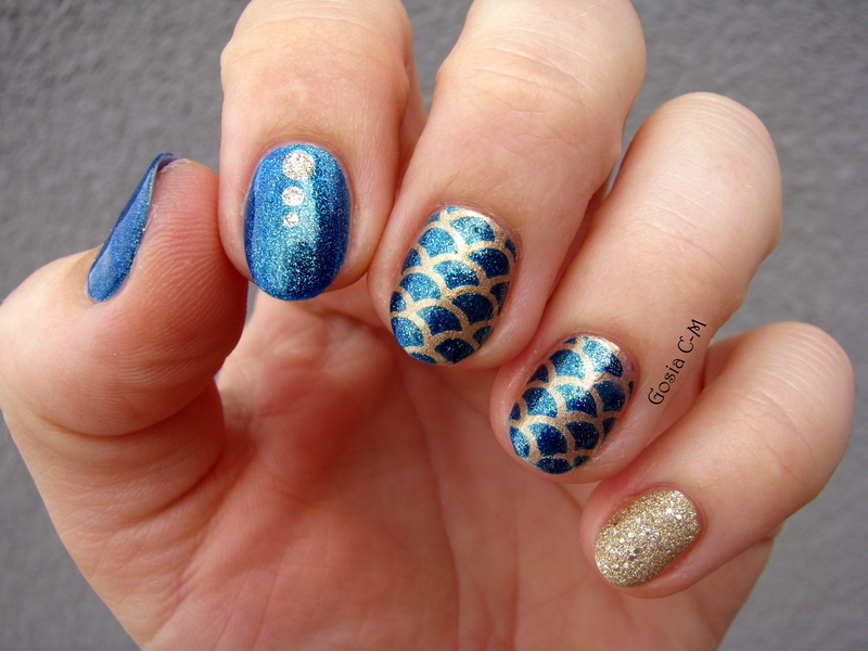 Fish scale nail art by Nail Crazinesss