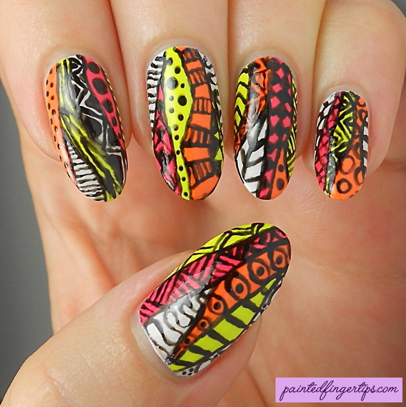 Brightly coloured pattern nail art by Kerry_Fingertips