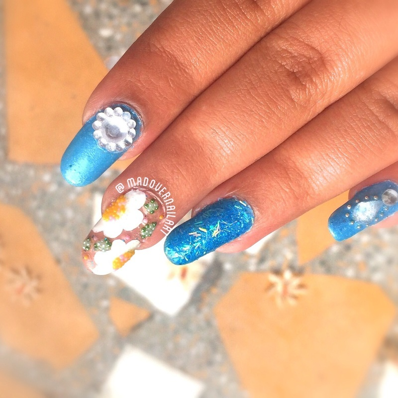 Blue mix and match nails nail art by madovernailart