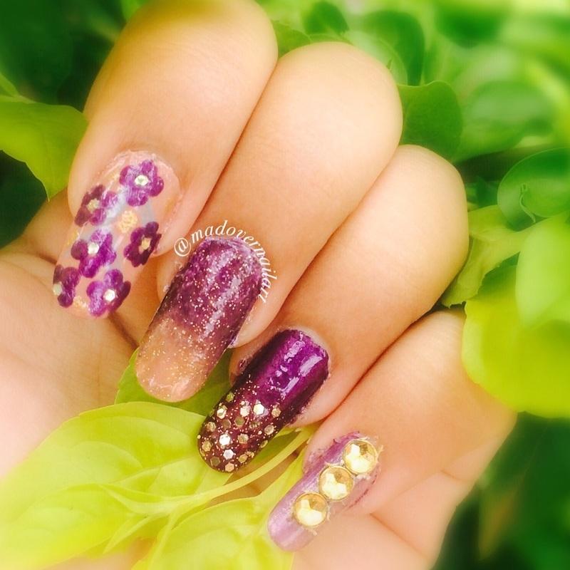 Purple mix and match nails nail art by madovernailart