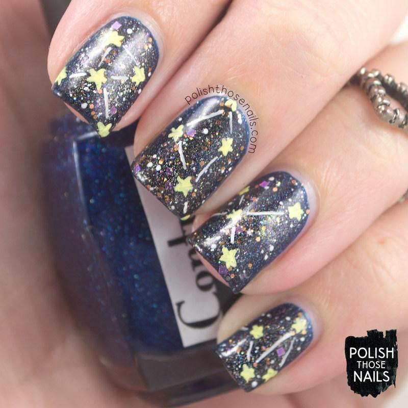 Sparkle Galaxy Stars nail art by Marisa  Cavanaugh