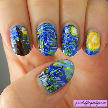 Starry Starry Night nail art by Kerry_Fingertips