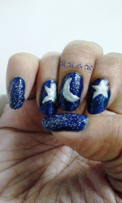 The Night Sky nail art by Rusa
