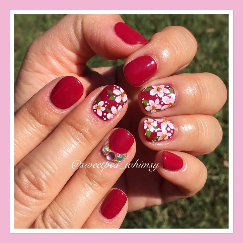 🌸 Cherry Blossoms on Red nail art by SweetPea_Whimsy
