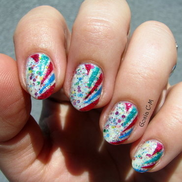 Colorful stripes nail art by Nail Crazinesss