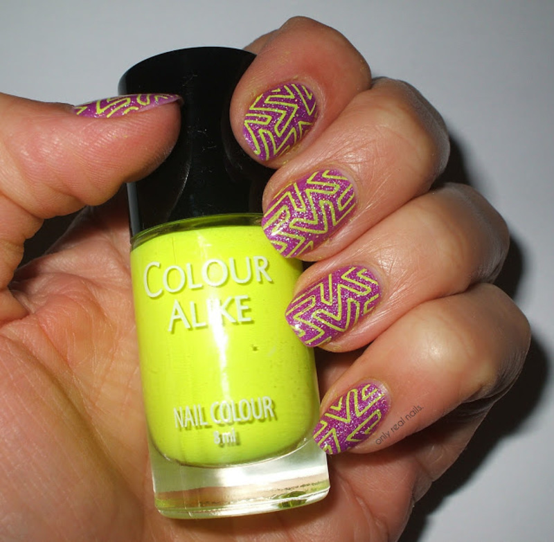 Neon goes holo nail art by only real nails.