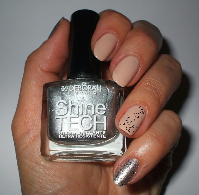 Nude and silver nail art by only real nails.