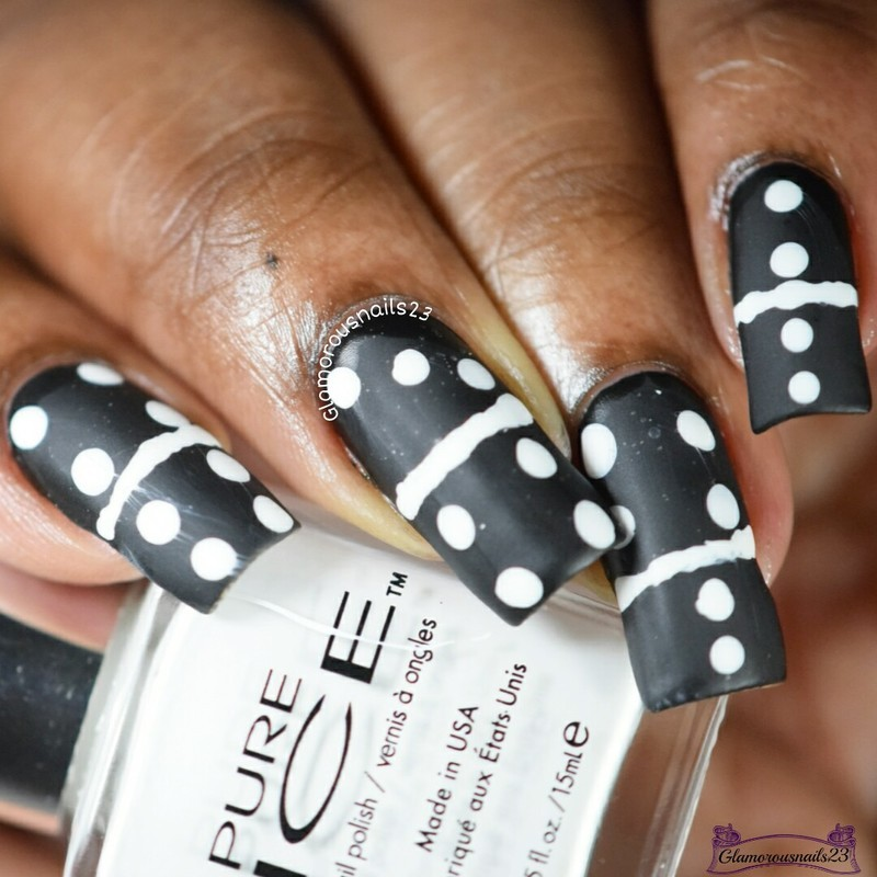 When Colors Collide: Black & White Dominoes  nail art by glamorousnails23