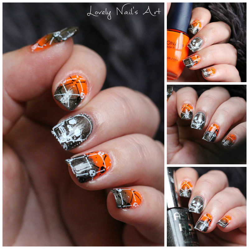 Nail art stamping skull nail art by Lovely Nail's  Art