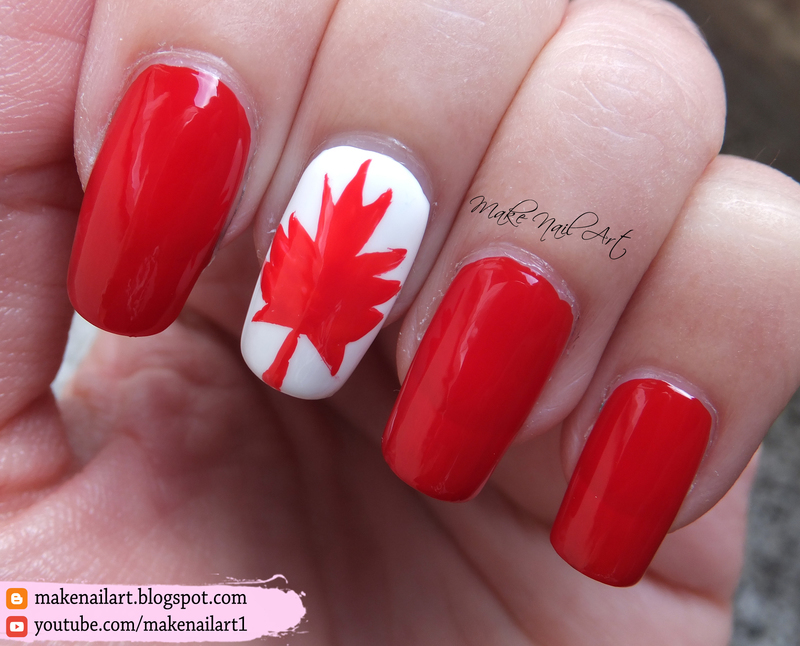 Canadian Flag Nail Art Design nail art by Make Nail Art