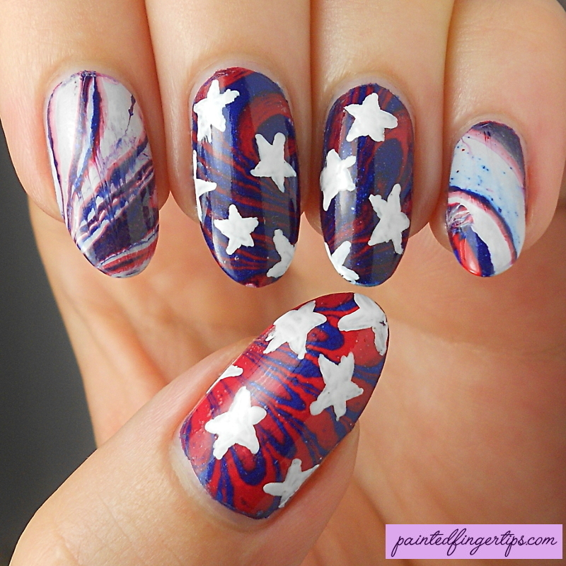 US flag water marble nail art by Kerry_Fingertips