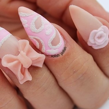 Sweet pink nail art design nail art by Volish Polish