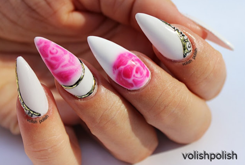 Vintage roses: wet on wet nail art design nail art by Volish Polish