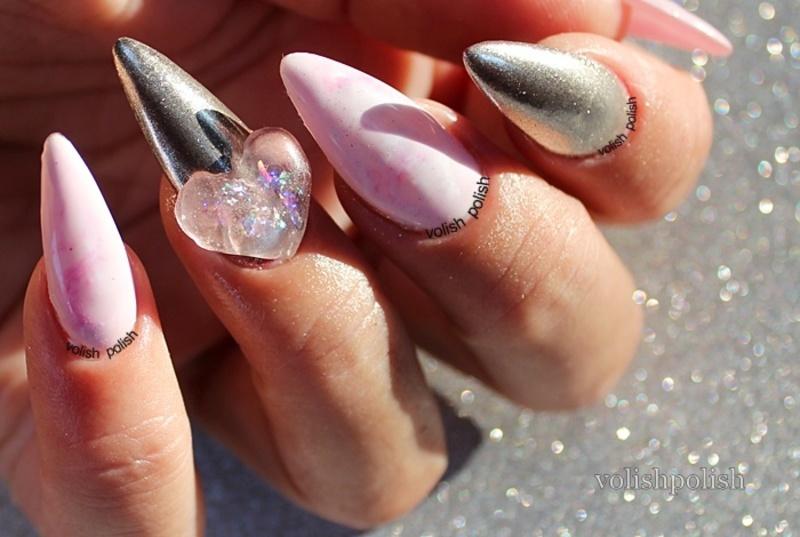 Chrome mirror and rose quartz marbling  nail art by Volish Polish