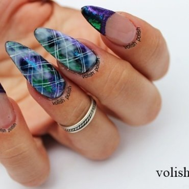 Argyle pattern nail art nail art by Volish Polish