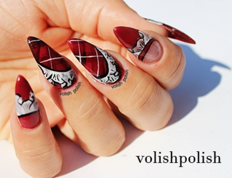RED PLAID NAILS  nail art by Volish Polish