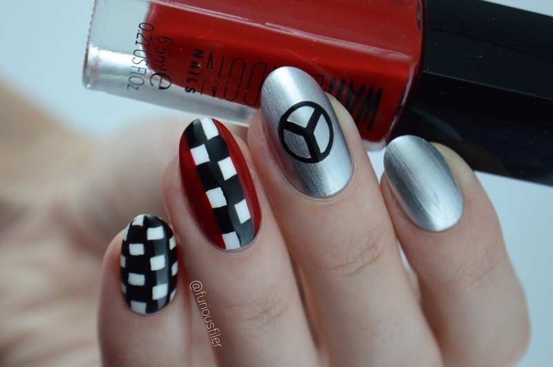 Formula 1 inspired nails  nail art by Furious Filer