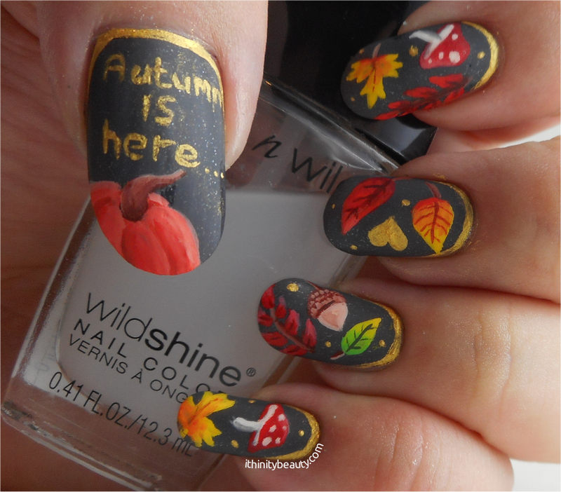 Freehand Autumnal Foliage nail art by Ithfifi Williams