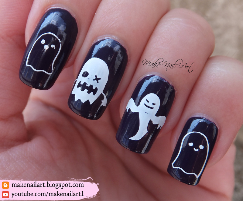 Ghost Nail Art Design nail art by Make Nail Art