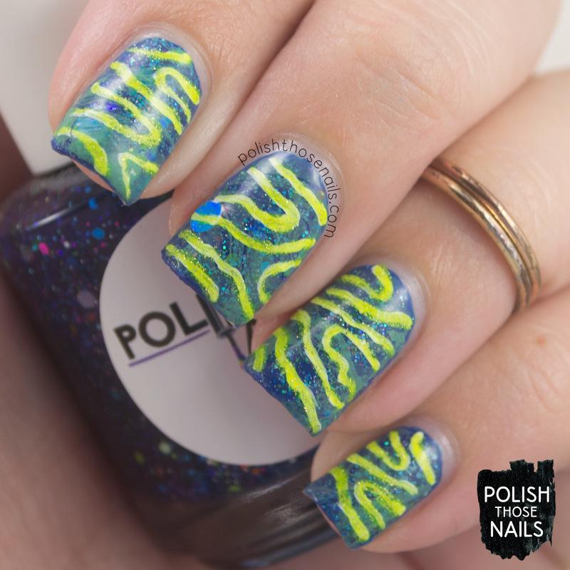 Watermarble Squiggle nail art by Marisa  Cavanaugh
