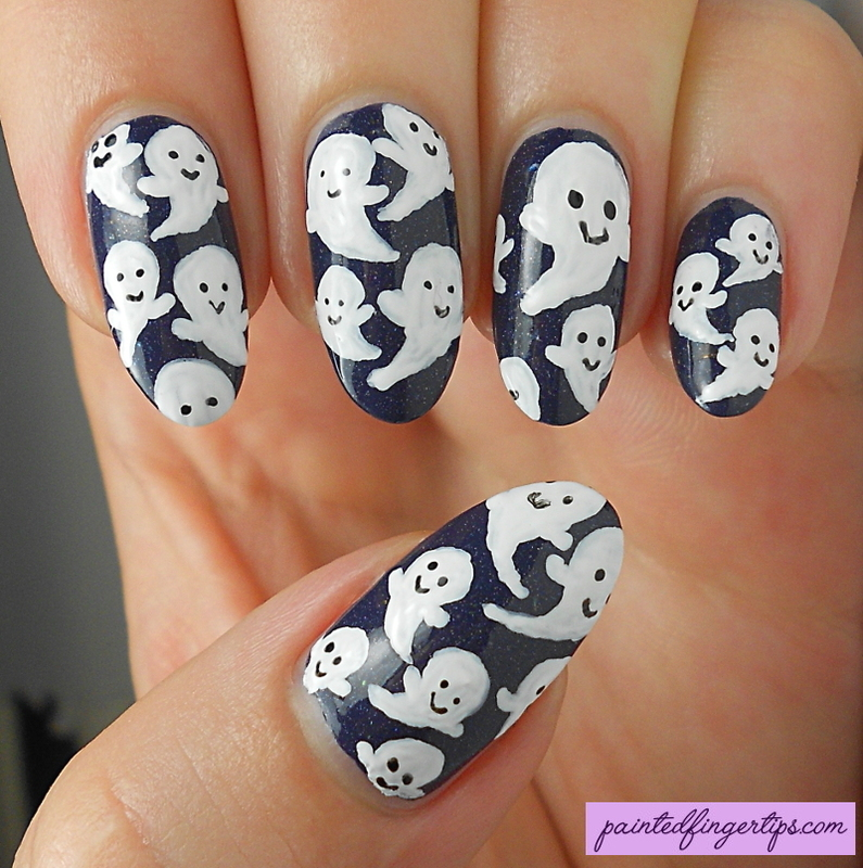 Cute ghosts nail art nail art by Kerry_Fingertips