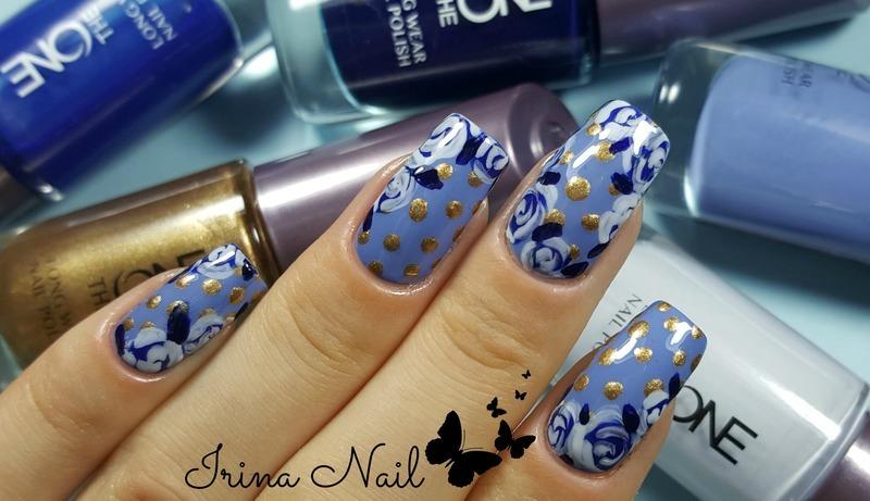 Blue roses nail art by Irina Nail
