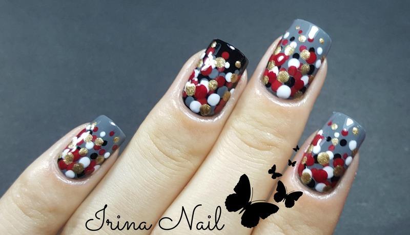 Manicure black and grey nail art by Irina Nail