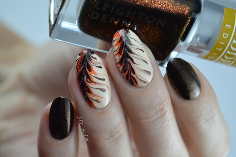 Coffee Inspired Marble nail art by Furious Filer