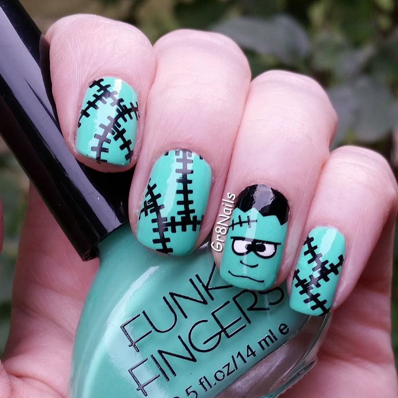 Frankenstein nail art by Gr8Nails
