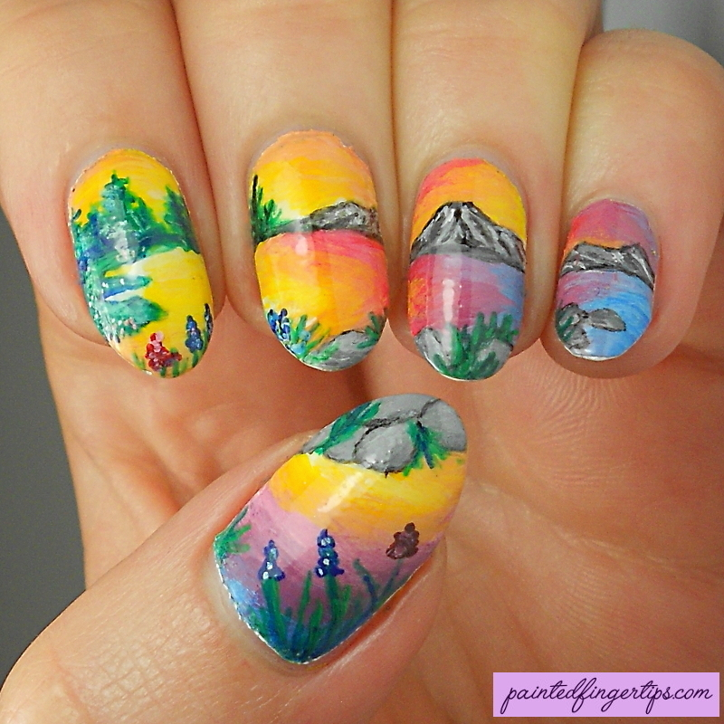 Sunset nails nail art by Kerry_Fingertips