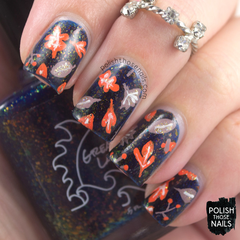 Leaves In The Lake nail art by Marisa  Cavanaugh