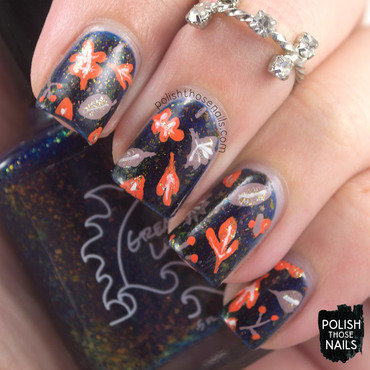 Blue flakie jelly autumn leaves nail art 4 thumb370f