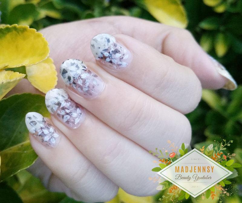 Monochrome Fading Foliage Stamping Nail Art  nail art by madjennsy Nail Art