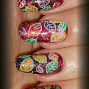 Falling leaves nail art by Maureen Spaulding
