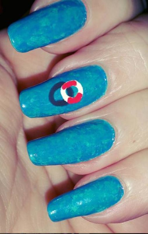 Swimming pool nail art by Maureen Spaulding