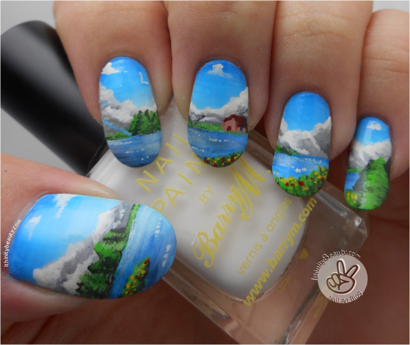 Freehand Mountain and Cabin Landscape nail art by Ithfifi Williams