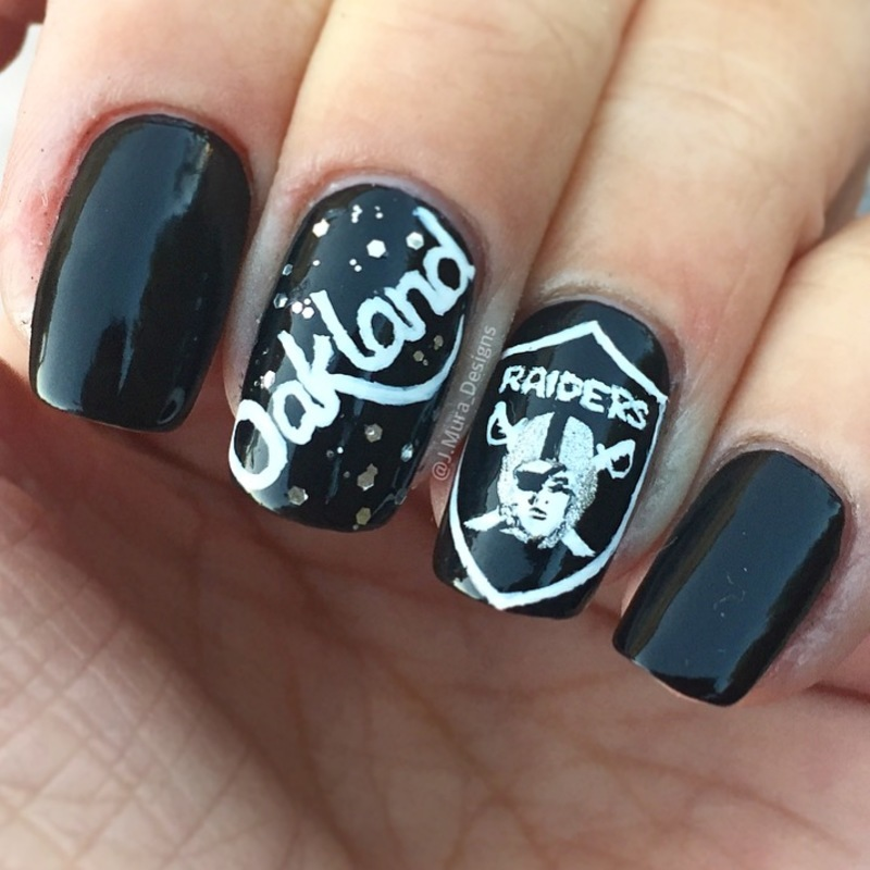 Raider Nation nail art by JMura_Designs