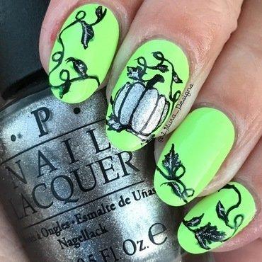 Silver Pumpkin nail art by JMura_Designs