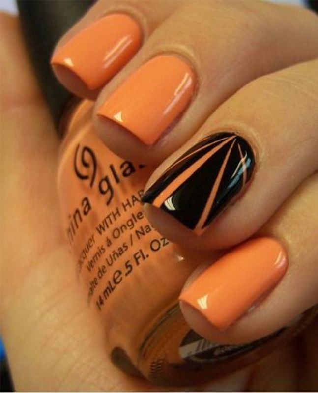 Orange & Black nail art by Macie