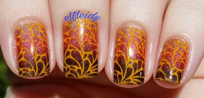 Fall gradient and stamping nail art by Jenette Maitland-Tomblin