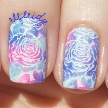 Rose stamped smooshy nail art by Jenette Maitland-Tomblin