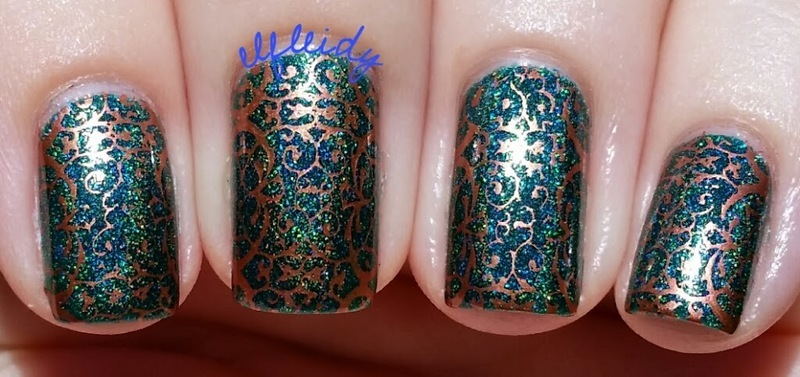 Copper stamping nail art by Jenette Maitland-Tomblin