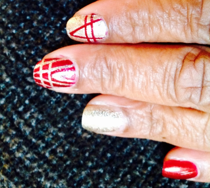 Lines & Triangles nail art by cNewman