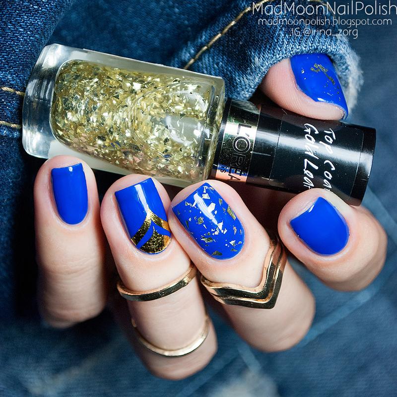 Cobalt blue & Gold nail art by Irina Zorg